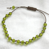 Lime Green & Brown Macrame Style Bracelet (5mm Beads)