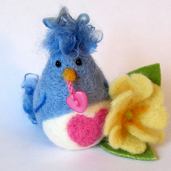 Needlefelt Love Bird with Primrose