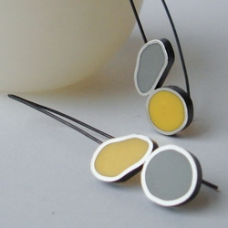 Yellow & Grey Ruggedy Rounds in sterling silver
