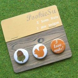 'I Love Nuts' Pin Badges