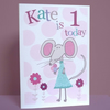 personalised girls birthday mouse card