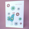 bird with flowers birthday card