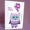 pretty owl birthday card