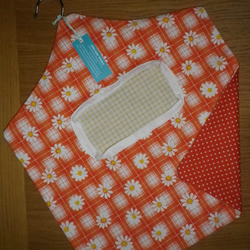 Vintage 1970s Orange Daisy Flower Fabric Peg Clothespin Bag