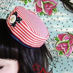 cute sailor pillbox hat nautical rockabilly burlesque pin-up