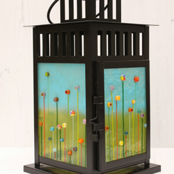 Wildflower Meadow Large Lantern in Black with LED Lights