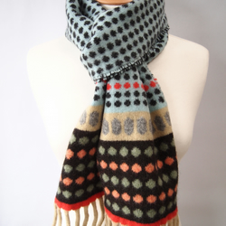 Coral and Turquoise Spotty Knitted Scarf