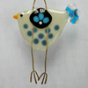 Spotty White, Black and Blue Glass Bird Decoration