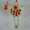 Red and Cream Spotty Glass Bird Decoration
