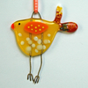 Yellow Spotty Fused Glass Bird Decoration