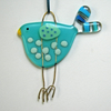Blue Spotty Fused Glass Bird Decoration