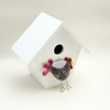 Pink Copper Leaf Fused Glass Chicken Decoration