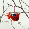 Fused Glass Red and Black Spotty Bird Decoration