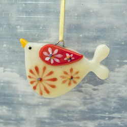 Fused Glass Little Flowery Bird Decoration