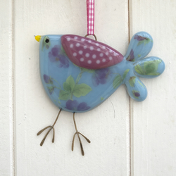 Blue Rose Patterned Fused Glass Bird Decoration