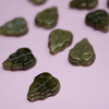 10pcs - brown glass leaves