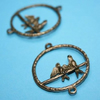 antique bronze double birds - 2pcs