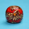 5pcs - Floral patterned red and gold wooden beads