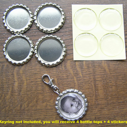 "Flattened Bottle Tops 1"" & clear epoxy self-adhesive stickers. Ideal for making photo keyrings. 4 bottle tops + 4 stickers."