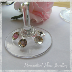 Personalised Wine Glass Charms stamped with your name, date or initials, incl. Swarovski Crystal Birthstone. Pack of 2. Sterling silver. *Ideal as Wedding Glass charms, featuring wedding date, bride & groom names etc* Ref. PPJ 2004-27