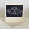 'Moth' hand printed linocut card, Prussian Blue