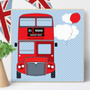 Personalised London Bus Wooden Picture Block, nursery decor baby gift
