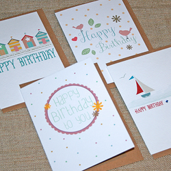 Pack of 4 Summer Birthday Cards