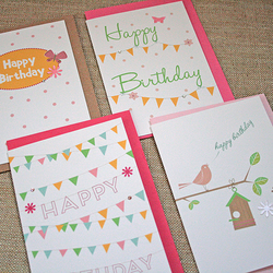 4 Pack Birthday Card Selection