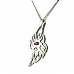 The Mexican Fire Opal Sterling Silver Flame Pendant Necklace
