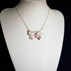 Fine Silver Multi Coloured Butterfly Pendant Necklace