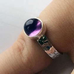 Beautiful Hammered Sterling Silver Purple Amethyst Cabochon Ladies Ring