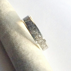 Memorial Cremation Ashes Set in a Sterling Silver Ring - Made to Order