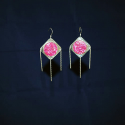 Shell Earrings in Pink on Sterling Silver & Twisted Silver Dangles