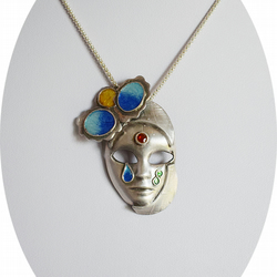 A Fine Silver Venetian Mask with Enamelled Face Detail Pendant Necklace