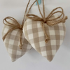CLEARANCE Pair hanging hearts Laura Ashley dark linen check