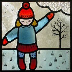 """Winter Girl"" Recycled Stained Glass Panel"