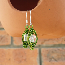 Wire Wrapped Earrings, Clear Quartz Earrings, Clear and Green Earrings
