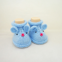 Mouse booties, Cute Baby Booties, Grey Booties, Hand Knitt Mouse Booties, Mouse