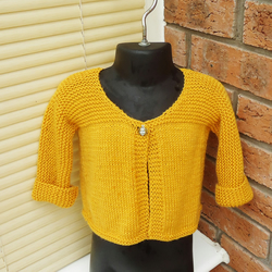 Baby Cardigan, Baby Cardigan in Yellow, Baby Sweater in Yellow, Handknitt Jumper