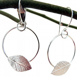 Contemporary, Sterling Silver Leaves Earrings
