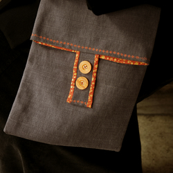Grey Linen Cross Body Bag by moody cow designs