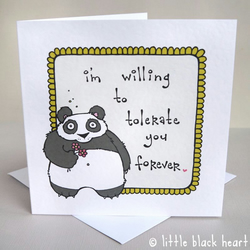 tolerant panda - greetings card