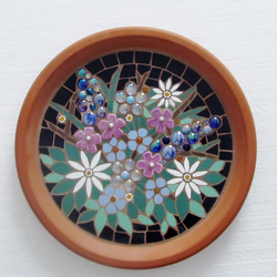 Mosaic birdbath for the garden; floral design; fully waterproofed