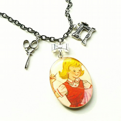 Sally loves to sew! resin charm necklace