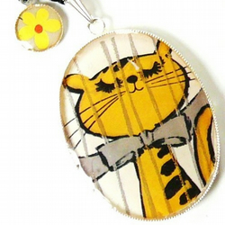 the proudest tiger large retro charm necklace