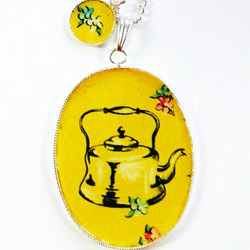 large time for tea 30mmx40mm pendant charm necklace