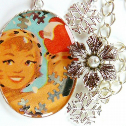 Snowball fight 1950s girl large pendant charm necklace