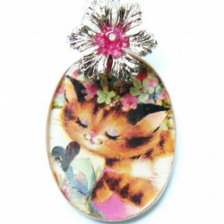dancing kitty and flowers large adorable necklace