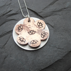 Lotus Flower Metal Stamped Copper and Silver Pendant