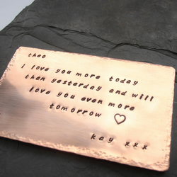 Wedding anniversary gift - wallet card size metal stamped
